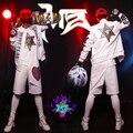 2016 discoteca cantante masculino DJ derecha Zhi-long 2 jun. k perforación blanco llaves blanco hip-hop gorra de béisbol chaleco chaqueta pantalones trajes