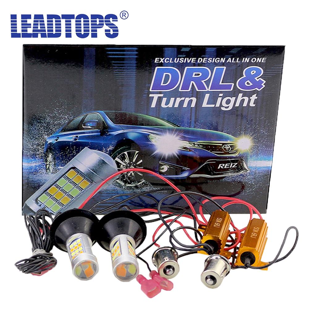 LEADTOPS Сид T20 42 свет наивысшей мощности дневные ходовые свет+включите двойной режим сигнала DRL 1156 Т20 7440 WY21W светодиодные ходовые огни будут