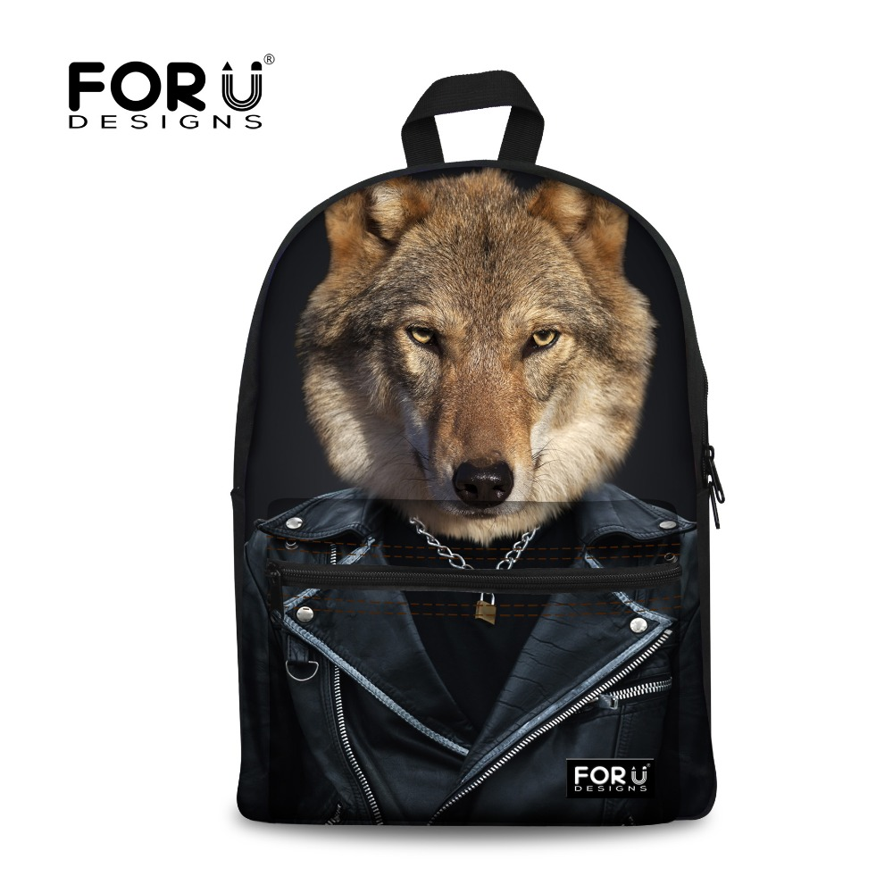 Cosplay Wolf Printing School Backpacks Teenagers Boys Korean Japanese Kids Canvas Backpack for Boys Schoolbag Mochila Escolar  free shipping korean version candy colors fairy tail logo printing man woman canvas schoolbag red green black blue backpacks