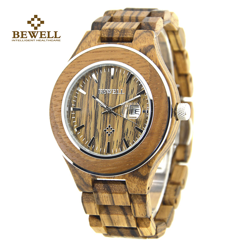 BEWELL Wood Men's Quartz Watches Wood Grain Waterproof and Calendar Handmade Wristwatches with Box for Male Watches Friend 100AG