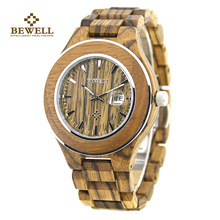 New BEWELL Brand Wood Men's Quartz Watches Waterproof and Calendar Clock Handmade Relogio Masculino Watches with Box 100AG цена и фото