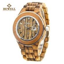 New BEWELL Brand Wood Mens Quartz Watches Waterproof and Calendar Clock Handmade Relogio Masculino with Box 100AG