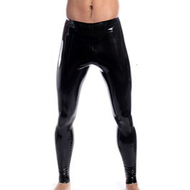 633095ac5ad88 Sexy Men Skinny Faux PU Leather Pants Wet Look Black Trousers Stage  Performance Male Vinyl Pants Sexy PVC Leggings Shiny Pants