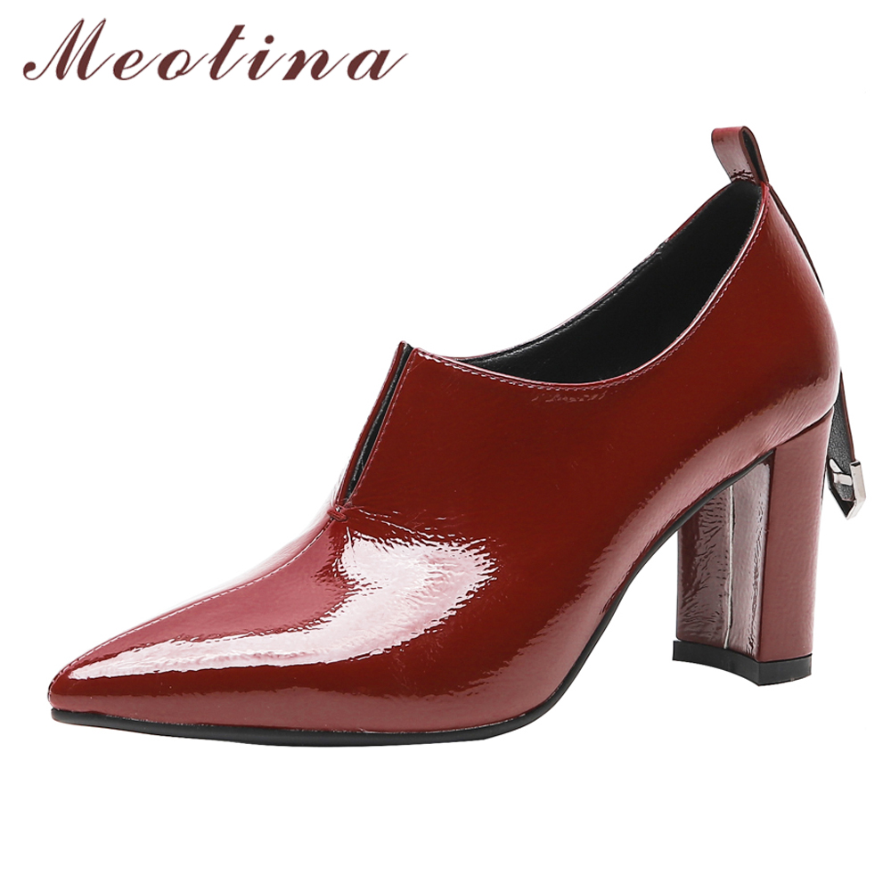 Meotina Women Pumps High Heels Patent Leather Thick High Heels Shoes Pointed Toe Office Lady Shoes