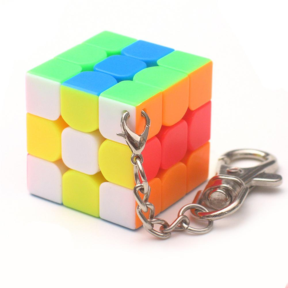 HobbyLane 3cm Mini Small 3x3x3 Magic Cube Key Chain Portable Smart Cube Toy & Creative Key Ring Decoration