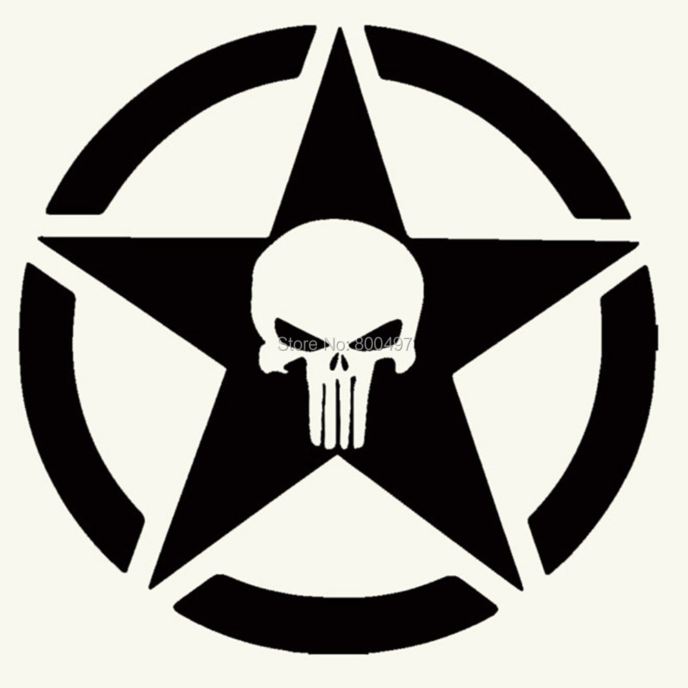 "STAR SKULL Vinyl Decal Sticker-6/"" Wide White Color"