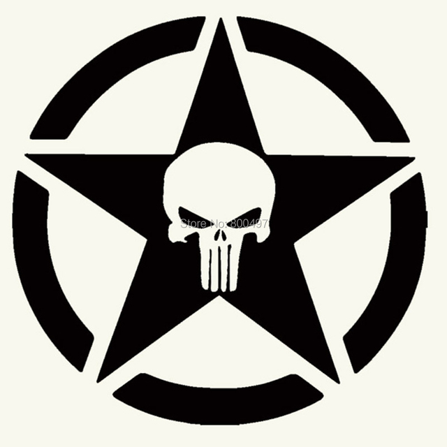 New Design Funny Skull with Five Star Logo Creative Auto Decal