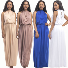 Autumn new Middle East popular solid color loose casual hanging neck loose wide leg large size fat MM sexy ladies dress autumn new middle east popular solid color loose casual hanging neck loose wide leg large size fat mm sexy ladies dress