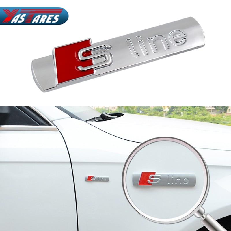 1PCS 3D S Line Sline Car Front Grille Emblem Badge Stickers Accessories Styling For Audi A1 A3 A4 B6 B8 B5 B7 A5 A6 C5 C6 A7 TT