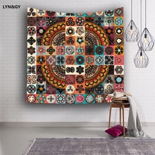 Flowers Tapestries Colorful Psychedelic Indian Tapestry Wall Hanging Printed Decoration Blanket / Beach Towel Square scarf