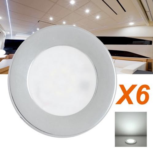 Light Fixtures Real Ccc Luces Led 6x12v Led Recessed Down Light Chrome Plated Super Bright Caravan Lamp Cool White/ Warm диски helo he844 chrome plated r20