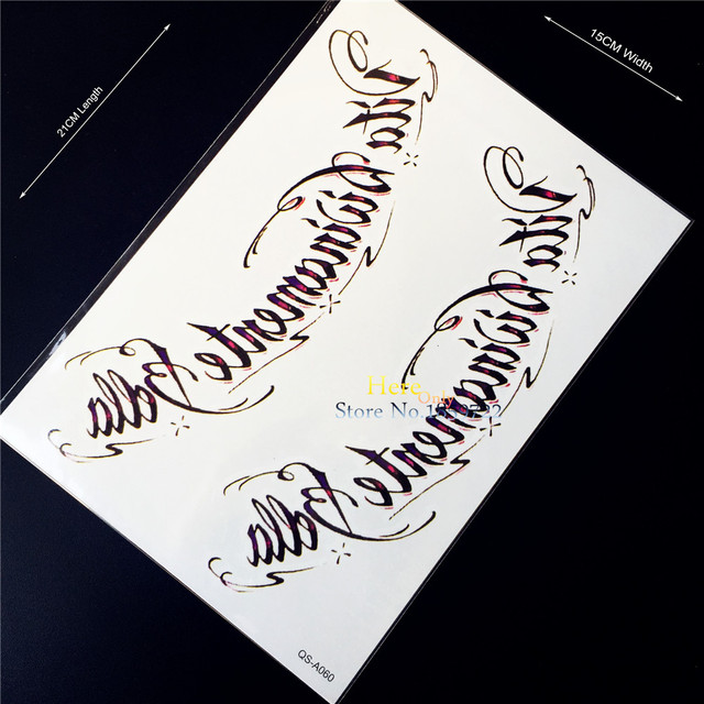 1 Unid Letras Negro Flash Falso Impermeable Tatuaje Pasta Para