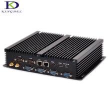 Бесплатная доставка DHL kingdel последним безвентиляторный мини-Промышленные ПК мини-компьютер Barebone i3 4010U i5 4200U i7 4500U Dual LAN 6 RS232