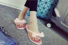 Women's Summer Beach fashion women's bow flat heel flip flops beach slippers flip female shoes