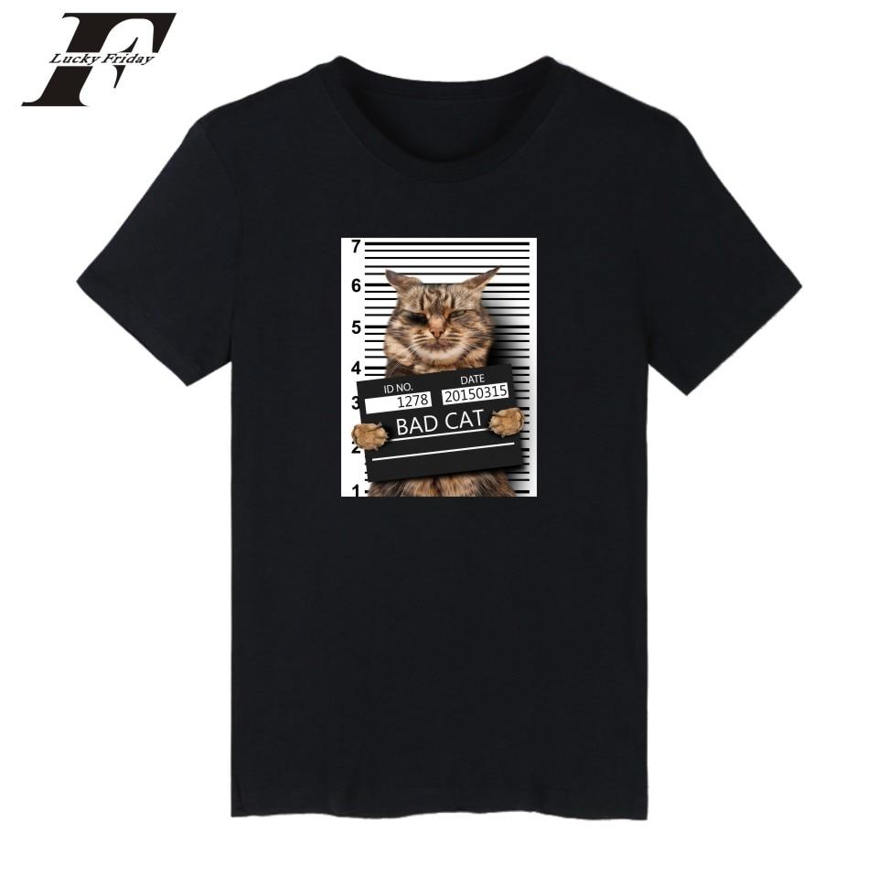 LUCKYFRIDAYF Bad Cat Tee   Shirt   Short Sleeve Funny Crime Cat   T  -  shirts   Men   T     Shirts   Summer Popular Crime Photos Cats White Tshirt