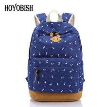 Hoyobish Для женщин рюкзак для подростков Обувь для девочек Школьный рюкзак мешок Олень Печать на холсте детей школьный Mochila Escolar HY002