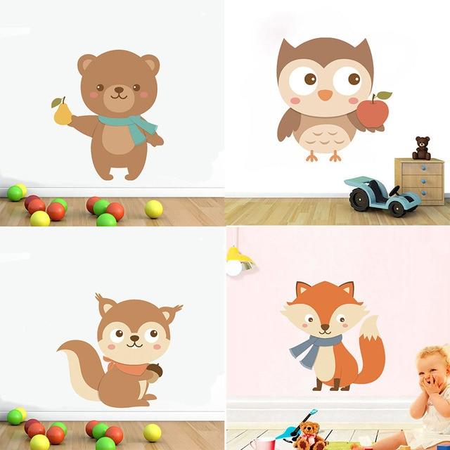 Us 3 89 22 Off Wall Art Decals For Kids Nursery Bedroom Home Decor Vinyl Wall Sticker Removable Wallpaper Foxes Bird Bear Cartoon Cute Animals In
