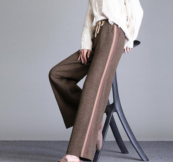 Invierno Pierna Pantalones caqui Capris Elástica marrón Ancha Alta Moda Oscuro Gris Mujer Cok0804 gris Primavera Cintura Negro Nueva Otoño Casual Negro wqBC8txWg