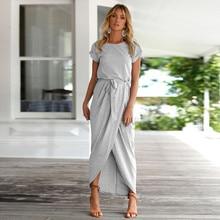 e1757d81ad7 Для женщин Бохо длинное платье насыщенный Синий Гэри Цвета короткий рукав  свободные партия Пляжные наряды сарафан