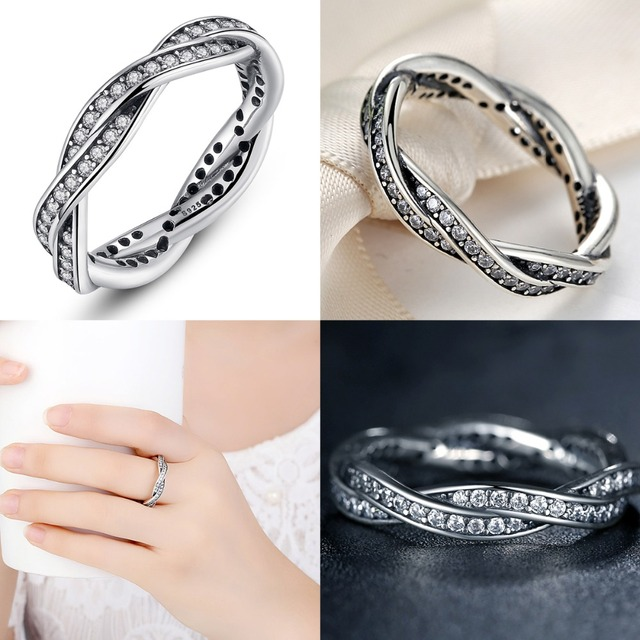 Authentic 925 Sterling Silver BRAIDED WAVE SILVER RING Simple Twisted Geometric Female Finger Rings for Women Jewelry WEU7116