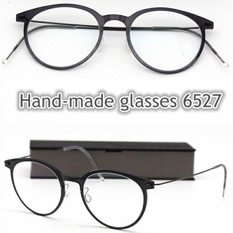 No screw titanium circle glasses frame for men and women 6527 Extra Light Retro Small Round frame myopia Oculos de grau