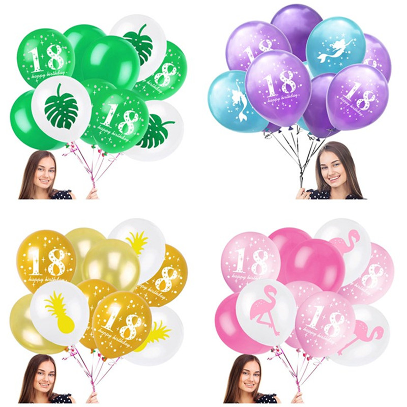 10pcs Gold Pineapple Pink Flamingo Latex Pearl Balloons 18 Years Old Boy Girl Helium Air Ballons 18th Birthday Party Decorations