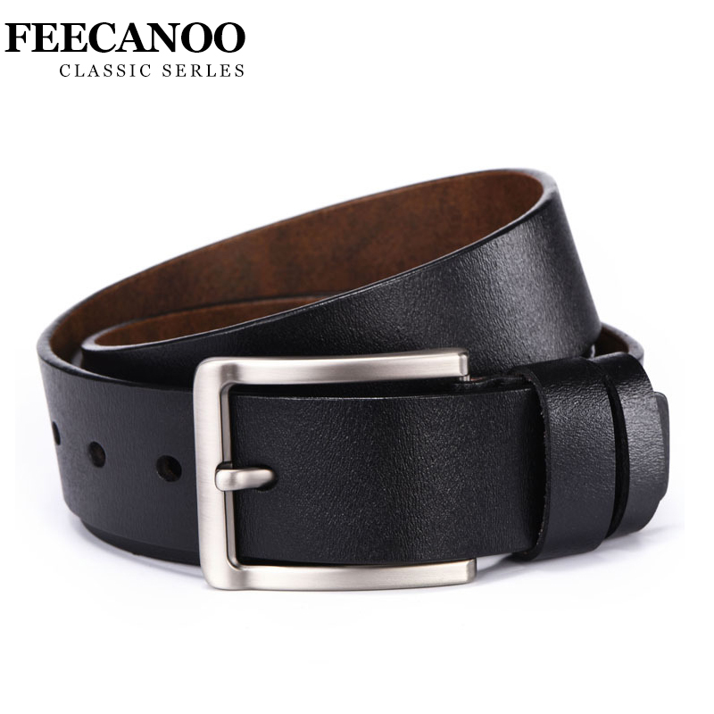 69540fae34ec FEECANOO cowhide genuine leather belts for men brand Strap male pin buckle  vintage jeans belt 100-125 cm long waist 30-39 / BestDealPlus