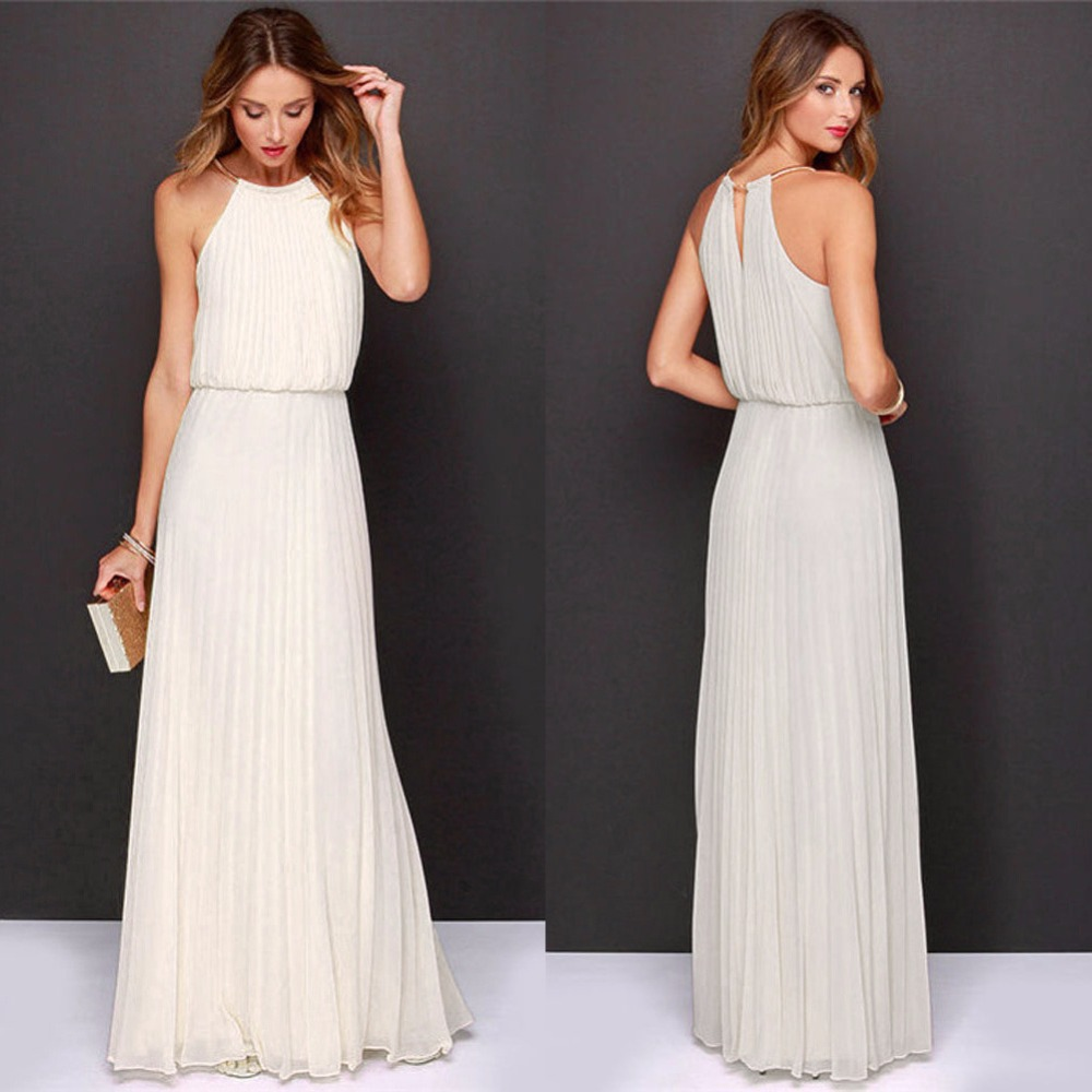 88682e2d7 2018 Summer Dress Women Casual Elegant Evening Maxi Dress Formal Chiffon  Sleeveless Prom Party Dresses Beach Long Sundress