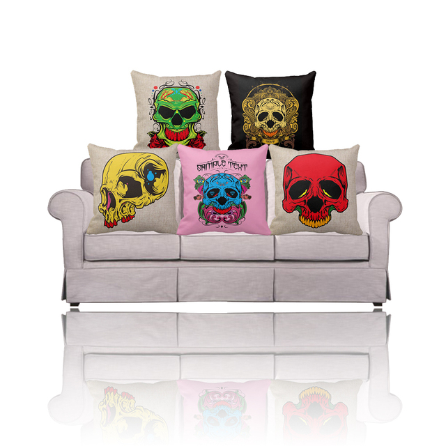 Us 10 38 Black Red Green Yellow Pink Cute Sugar Skull Decor Throw Pillow Covers Cheap Vintage Cotton Linen Sofa Cushion Cover Online Sale In Cushion