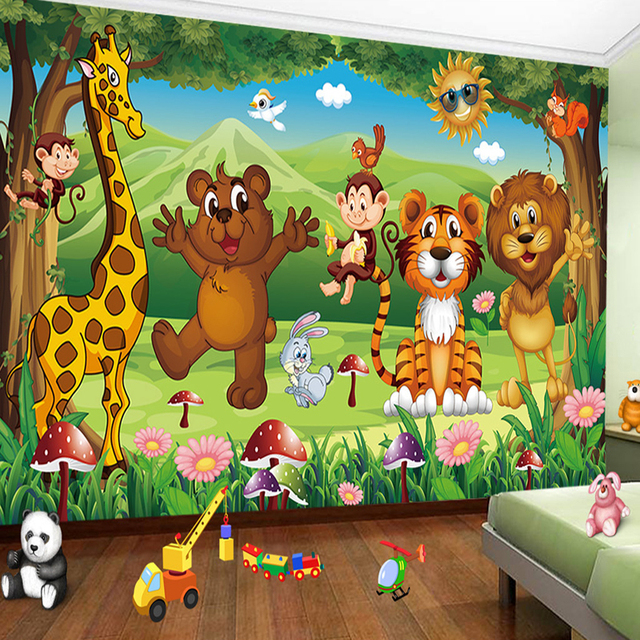 Use Childen S Room Wallpaper To Add Oodles Of Character: HD Animal Paradise Cartoon Children's Room Photo Wall