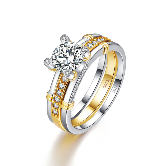 JQUEEN 2pcs/lots 925 Sterling Silver Ring 18k Gold Plated Tail Ring 2.6ct Topaz Real Silver Couple Wedding Rings For Women