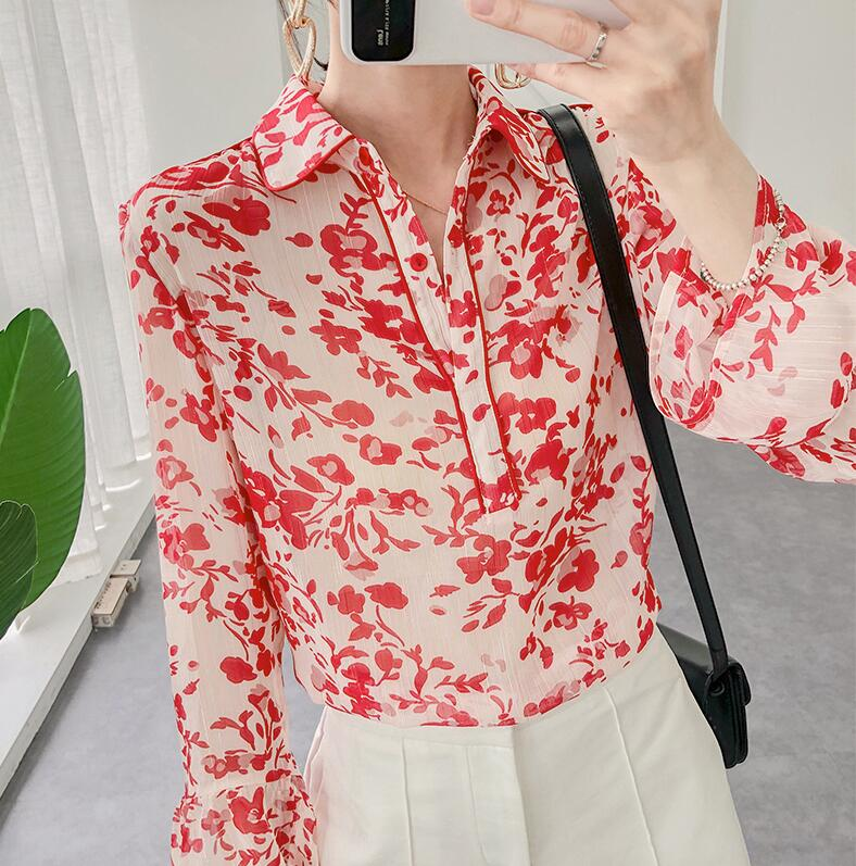 Women   blouses     Shirt   Gold and Silver Henley neckline floral print shiny threads women's   blouses
