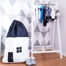 Hot black and white cotton canvas small house storage bag home childrens room decoration
