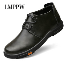 Genuine Leather Men Waterproof Shoes Casual Sneakers Autumn Winter High Top Ankle Boots Fashion Brand Footwear  2A
