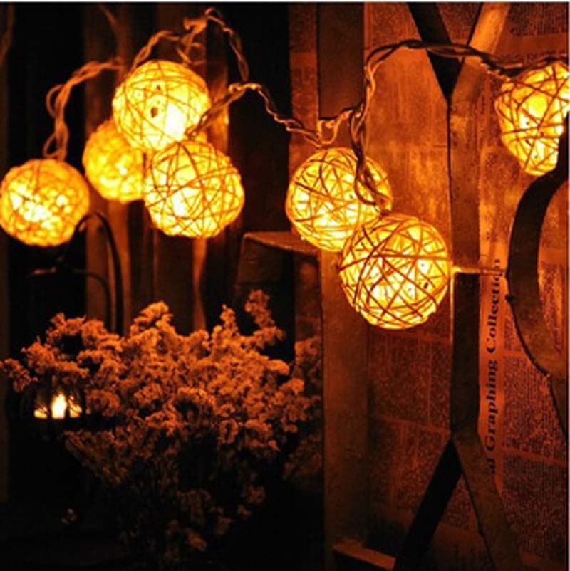 aliexpresscom buy christmas lights wedding decoration luces de navidad 10m 38 led warm white rattan ball led string lighting holiday fairy lights from