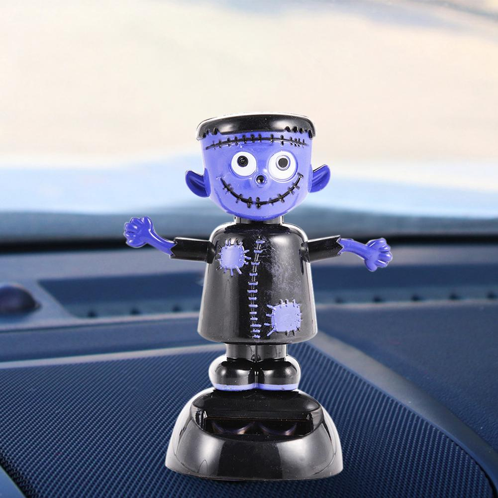 Solar Car Decoration Cute Automatic Swing Shaking Head Ghost Doll Witch Car Decoration Car Accessory Use For Home Car Accessorie