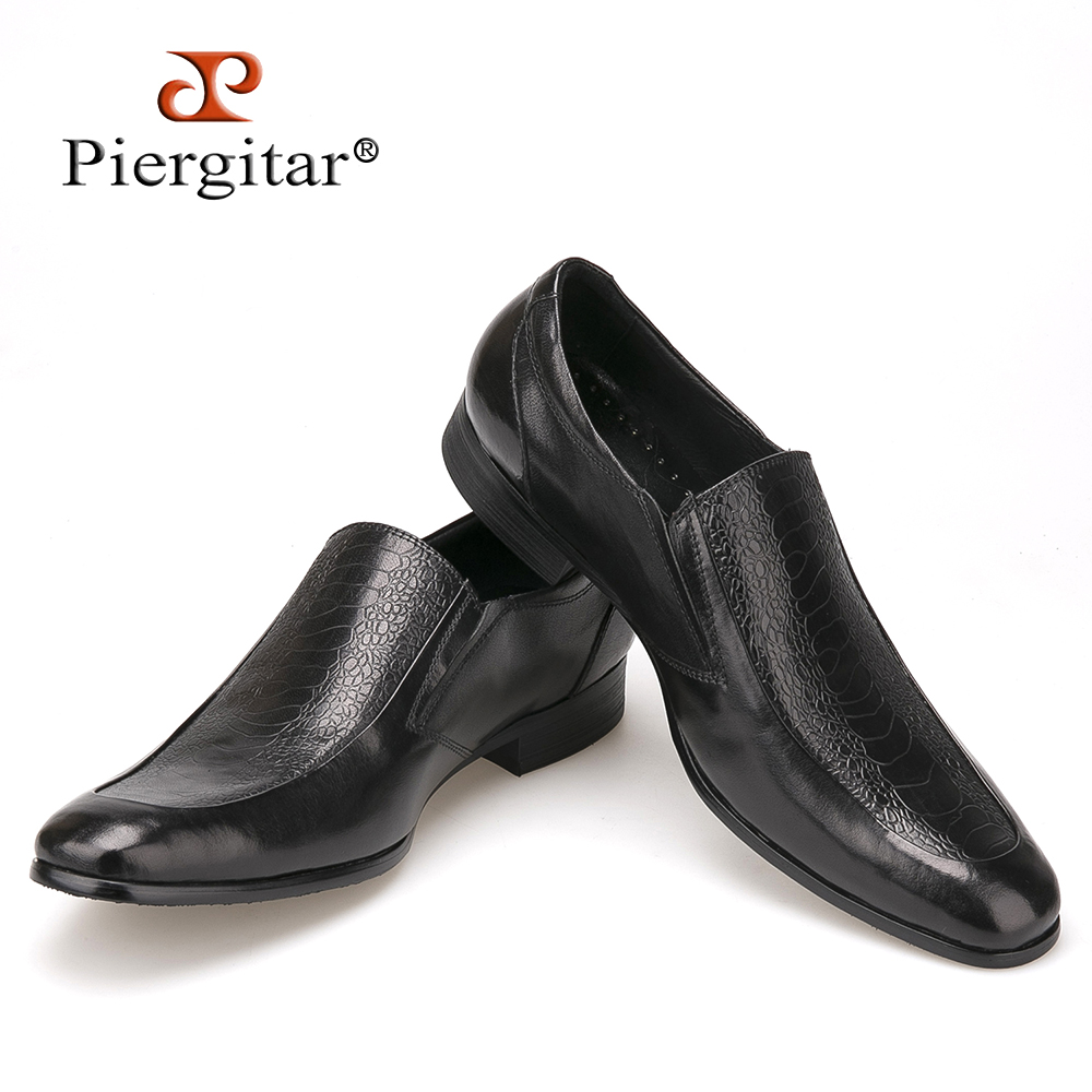 New 2018 Black Leather Men Dress Shoes men's flats Formal Business Shoes Wedding Dresses Shoes Oxford Shoes Slip on round toe
