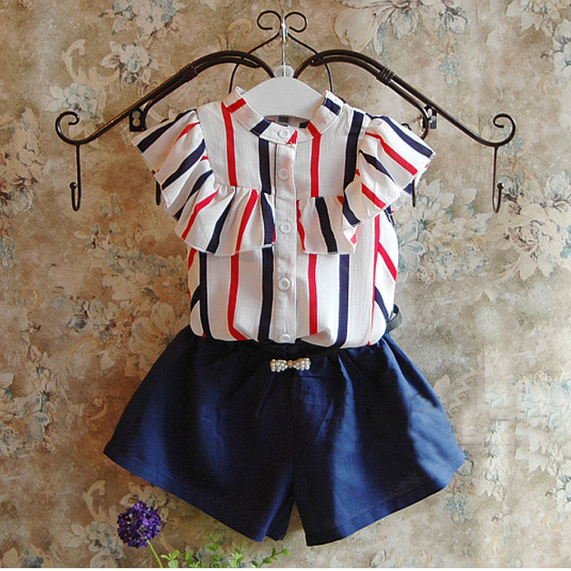 New 2016 girl lovely stripe T-shirt + pants skirt set girl set clothing set a girl's clothes, children's clothes