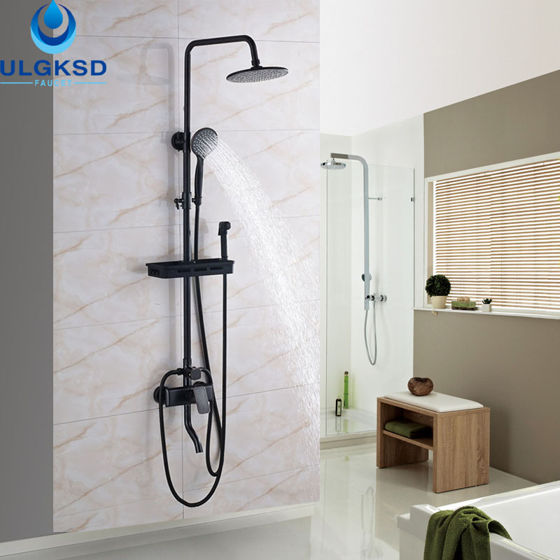 ULGKSD Black Brass Shower Faucet 8 Rainfall Head Tub Shower Hand shower Mixer Taps With Storage Basket