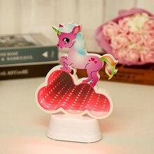 3D Unicorn Tunnel Light Mirror Design Mermaid LED Childrens Night Bedroom Decoration Elk Christmas Birthday Gift