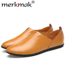 Merkmak Comfortable Handmade Genuine Leather Men Shoes Casual Man Flats Design Driving Soft Leather Footwear Male Shoes Dropship cangma designer brand sneakers men genuine leather flats shoes mid handmade printing white man s casual shoes male footwear