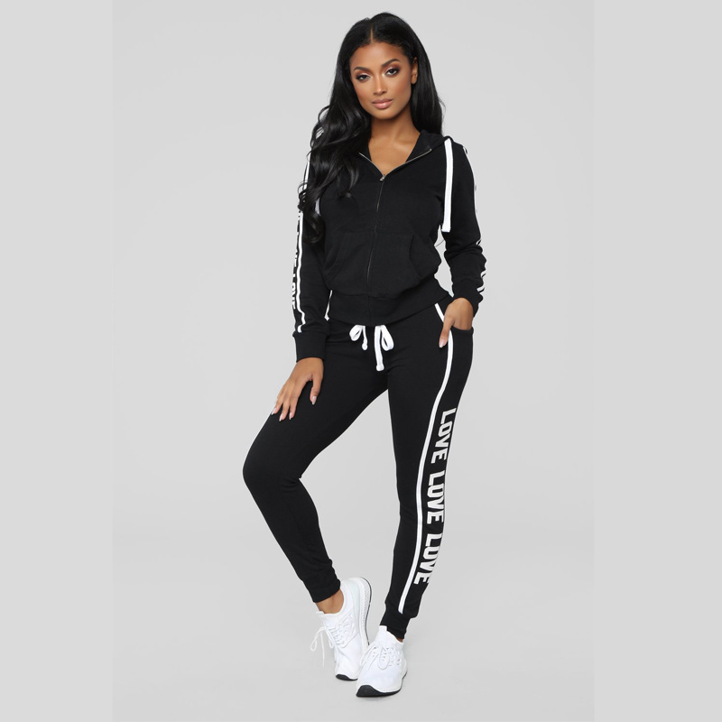 ZOGAA Women Set Two Piece Set Pant Top Casual Tracksuit Fitness Sportswear Hooded Sweatshirts Letter Printed Slim Fit Tracksuits