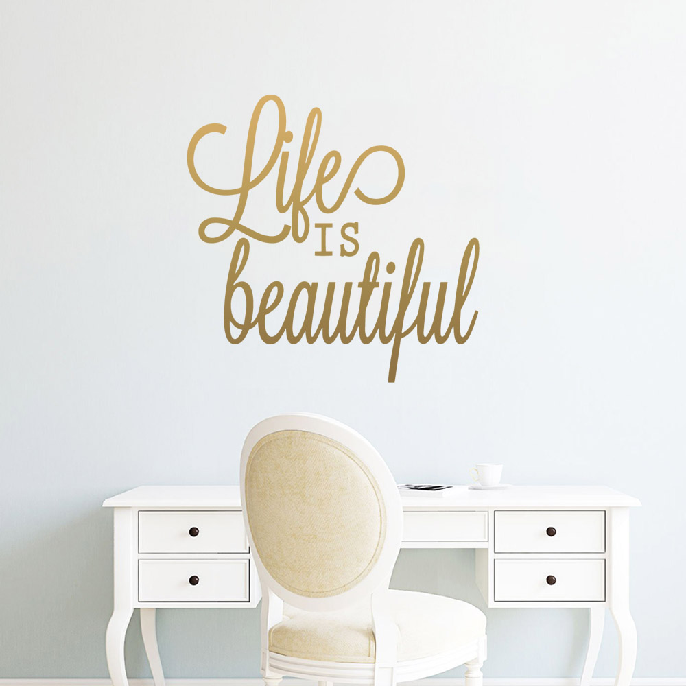 Cartoon Life is Beautiful Nursery Wall Stickers Vinyl Art Decals For Living Room Kids Room Wall Art MURAL Drop Shipping