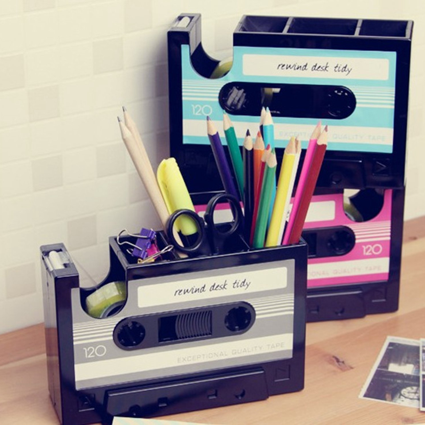 Vintage Cassette Tape Dispenser Pencil Holder Pen Container Vase Pot with Transparent Tape Desk Tidy Students Stationery Stand Pen Box Organizer Office Supplies for Kids Boys Teen Girls Blue