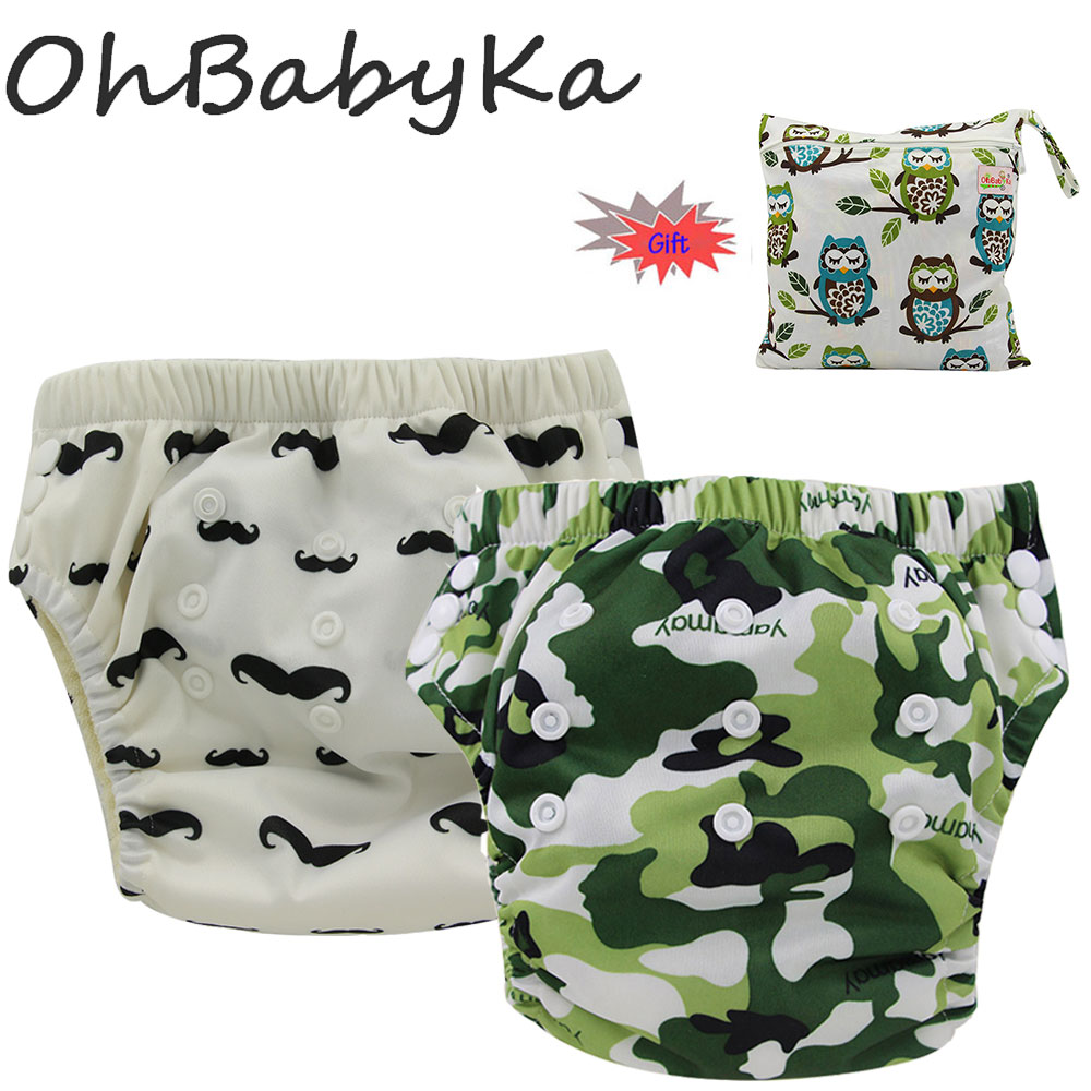 Ohbabyka 2Pcs Boys Girls Training Pants One Size Adjustable Kids Potty Training Pant Baby Absorbent Diaper With 1pcs Diaper Bag