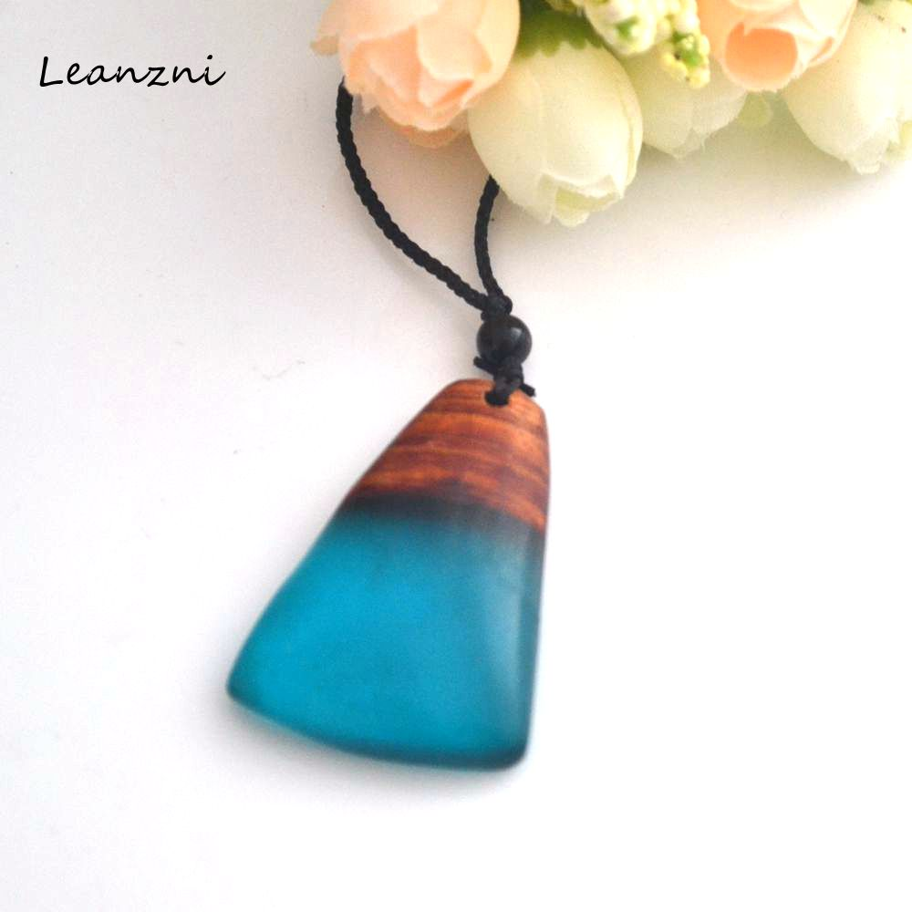 Men And Women Jewelry Geometric Necklace Pendant Retro Special Gifts Wood Resin Professional Production