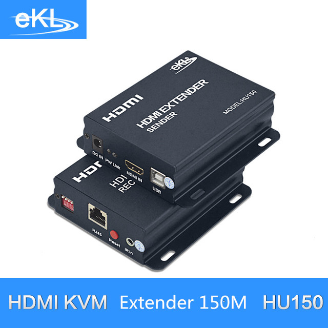 EKL KVM Extender High quality 150m USB HDMI IR KVM Extender By CAT5e/6 TCP/IP (one Extender TX+one Extender RX)
