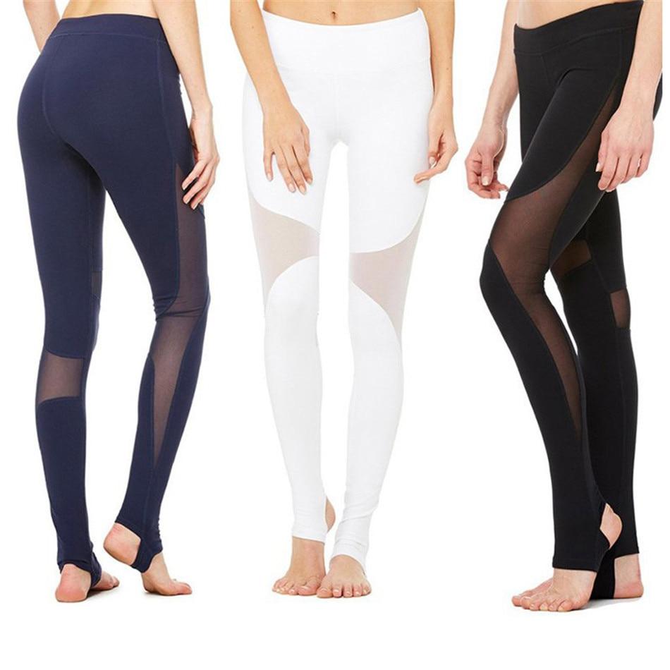 Femmes Sexy Yoga Pantalon Sec Fit Mesh Couture Sport Pantalon Fitness Gym Workout Pants pantalon à Courir Sport Leggings Pantalons Femmes