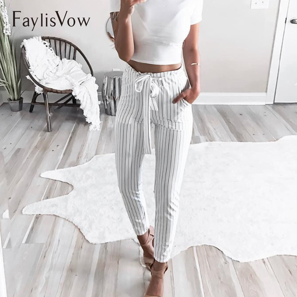 Women's High Waist Tie Up   Pant   Striped Stretchy Elastic Bowtie Belt Slim Long Trousers Autumn   Capris   Harem   Pants   Plus Size