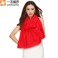 2017 High Quality Australian Pure Wool Scarves Women Winter Warm Candy Color Cashmere Shawls And Wraps